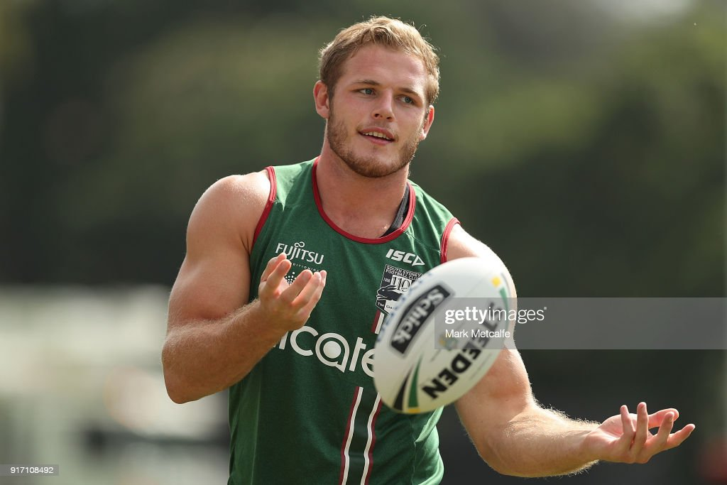 Thom Burgess passes during a South Sydney Rabbitohs NRL training session at Redfern Oval on February 12, 2018 in Sydney, Australia.