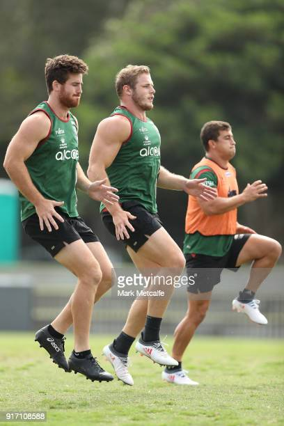 Thom Burgess warms up during a South Sydney Rabbitohs NRL training session at Redfern Oval on February 12 2018 in Sydney Australia