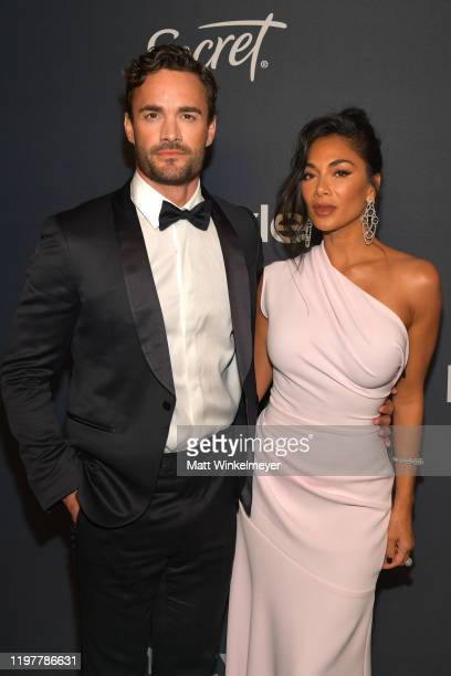 Thom Evans and Nicole Scherzinger attend The 2020 InStyle And Warner Bros 77th Annual Golden Globe Awards PostParty at The Beverly Hilton Hotel on...