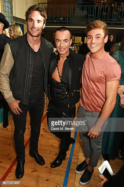 Thom Evans Julien Macdonald and Tom Daley attend the Julien Macdonald runway show during London Fashion Week Spring/Summer collections 2017 on...