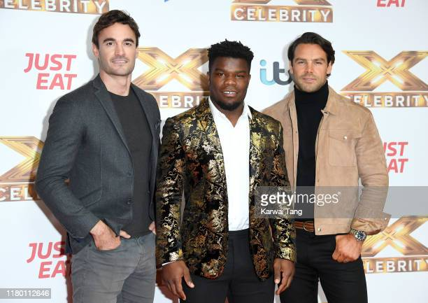 Thom Evans Levi Davis and Ben Foden of Try Star attend The X Factor Celebrity launch photocall at The Mayfair Hotel on October 09 2019 in London...
