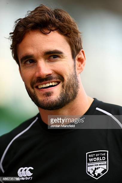 Thom Evans looks on during the Rugby Aid 2015 celebrity rugby match media session at Twickenham Stoop on September 2 2015 in London England