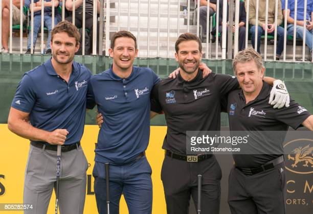 Thom Evans Michael Jamieson Gethin Jones and Jonathan Davies on Day one of the Celebrity Cup at Celtic Manor Resort at Celtic Manor Resort on July 1...