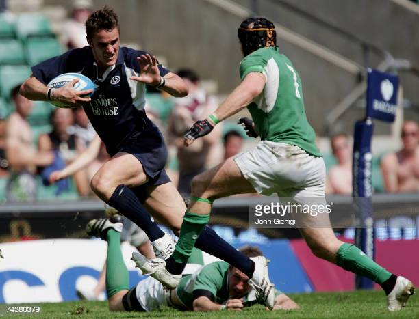 Thom Evans of Scotland breaks away to score a try during the Barclays Churchill Cup Plate Final between Scotland A and Ireland A at Twickenham...