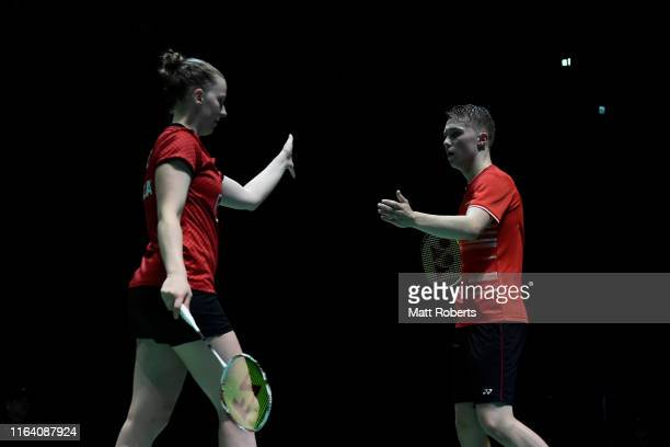 Thom Gicquel and Delphine Delrue of France celebrate in the mixed doubles match against Chan Peng Soon and Goh Liu Ying of Malaysia on day three of...