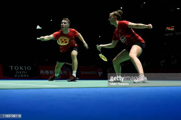 Thom Gicquel and Delphine Delrue of France compete against Tontowi Ahmad and Winny Oktavina of Indonesia during day one of the Daihatsu Yonex Japan...