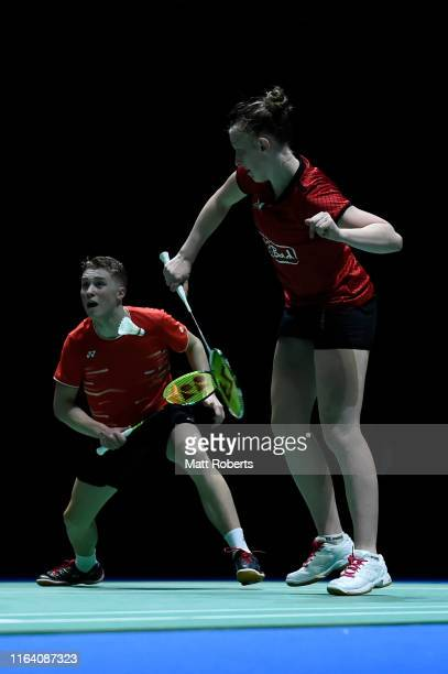 Thom Gicquel and Delphine Delrue of France compete in the mixed doubles match against Chan Peng Soon and Goh Liu Ying of Malaysia on day three of the...