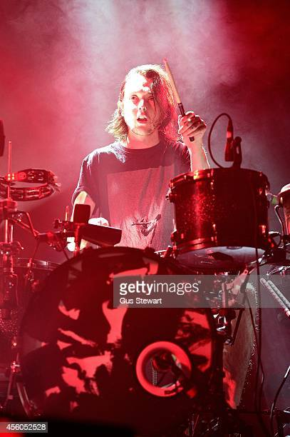Thom Green of altJ performs on stage at Alexandra Palace on September 24 2014 in London England
