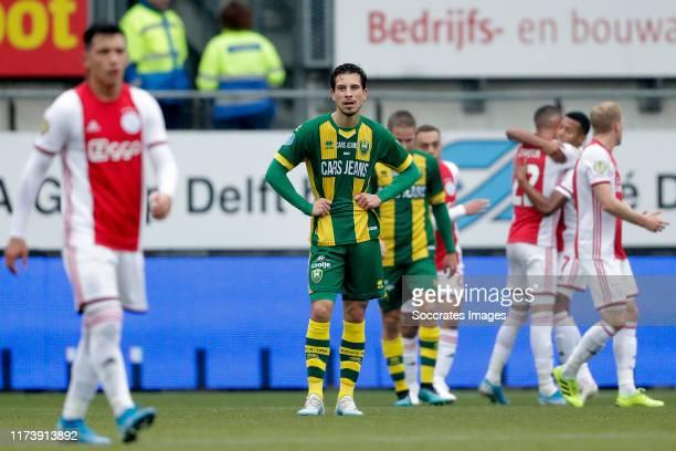Thom Haye of ADO Den Haag during the Dutch Eredivisie match between ADO Den Haag v Ajax at the Cars Jeans Stadium on October 6, 2019 in Den Haag...