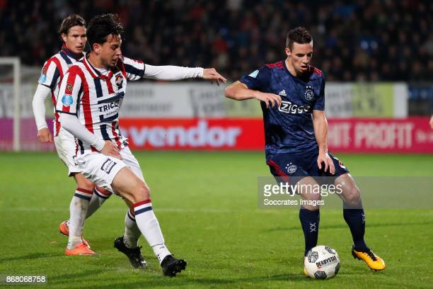 Thom Haye of Willem II Nick Viergever of Ajax during the Dutch Eredivisie match between Willem II v Ajax at the Koning Willem II Stadium on October...