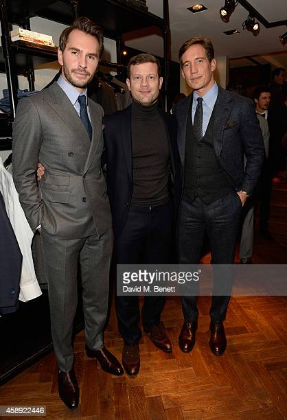 Thom Whiddett, Dermot O'Leary and Luke Sweeney attend the opening of their new Thom Sweeney RTW & MTM Store on November 13, 2014 in London, England.