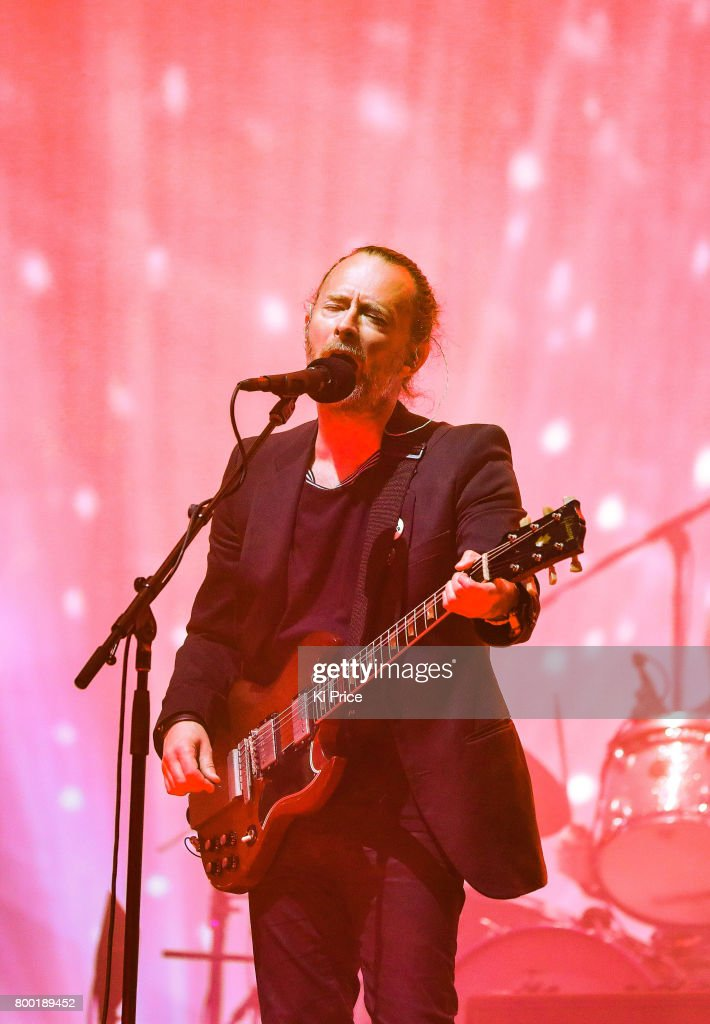 Thom York of Radiohead performs on day 2 of the Glastonbury Festival 2017 at Worthy Farm, Pilton on June 23, 2017 in Glastonbury, England.