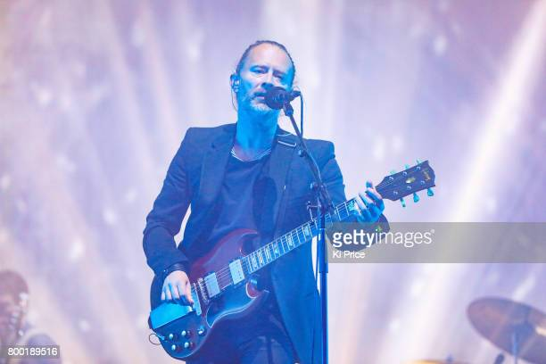 Thom York of Radiohead performs on day 2 of the Glastonbury Festival 2017 at Worthy Farm Pilton on June 23 2017 in Glastonbury England