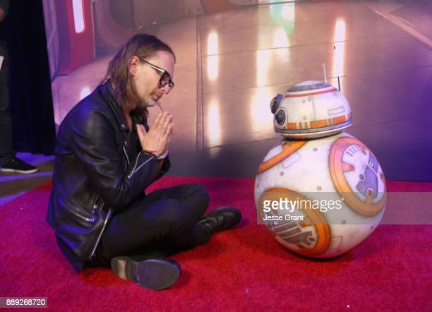 Thom Yorke and BB8 at the world premiere of Lucasfilm's Star Wars The Last Jedi at The Shrine Auditorium on December 9 2017 in Los Angeles California