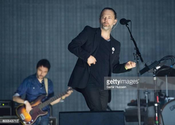 Thom Yorke and Colin Greenwood of Radiohead perform on day 2 of the Glastonbury Festival 2017 at Worthy Farm Pilton on June 23 2017 in Glastonbury...