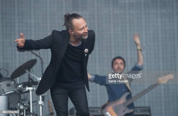 Thom Yorke and Colin Greenwood of Radiohead perform on day 2 of the Glastonbury Festival 2017 at Worthy Farm Pilton on June 23 2017 in Glastonbury...