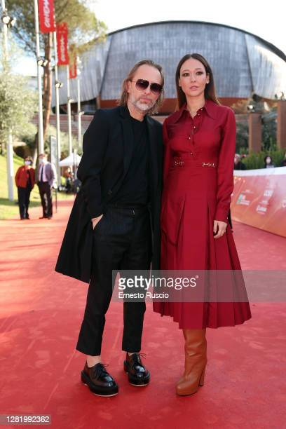 Thom Yorke and Dajana Roncione pose during the red carpet during the 15th Rome Film Festival on October 24 2020 in Rome Italy