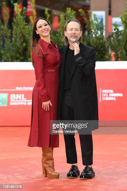 Thom Yorke and Dajana Roncione walk the red carpet during the 15th Rome Film Festival on October 24 2020 in Rome Italy