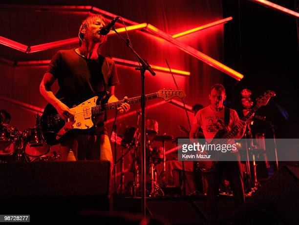 Thom Yorke and Flea of Atoms of Peace perform during the Day 3 of the Coachella Valley Music Arts Festival 2010 at the Empire Polo Field on April 18...