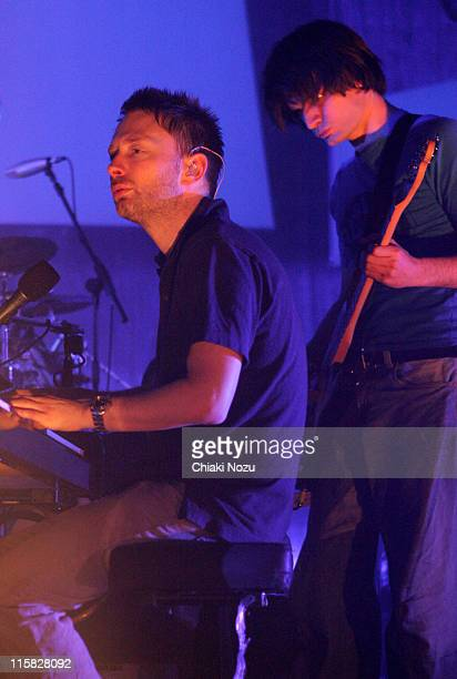 Thom Yorke and Jonny Greenwood of Radiohead during Radiohead Live in Concert at Hammersmith Apollo in London Great Britain