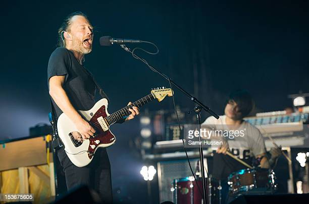 Thom Yorke and Jonny Greenwood of Radiohead perform at the 02 Arena on October 8 2012 in London England