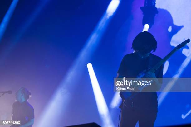 Thom Yorke and Jonny Greenwood of Radiohead performs at the 3Arena Dublin on June 20 2017 in Dublin Ireland