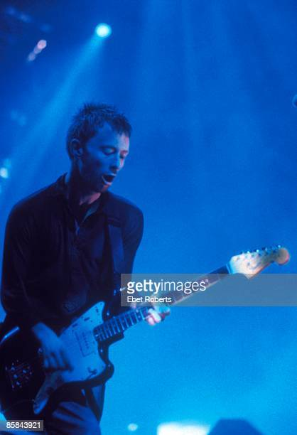 HALL Photo of Thom YORKE and RADIOHEAD Thom Yorke performing live onstage playing Fender Jazzmaster guitar
