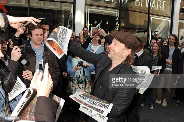Thom Yorke celebrated the physical release of the new Radiohead album 'The King of Limbs' and shocked fans who had queued for hours by handing out...
