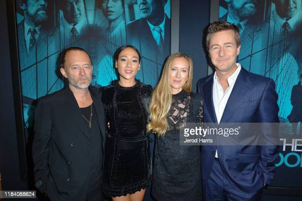 Thom Yorke Dajana Roncione Shauna Robertson and Edward Norton arrive at Premiere Of Warner Bros Pictures' 'Motherless Brooklyn' on October 28 2019 in...