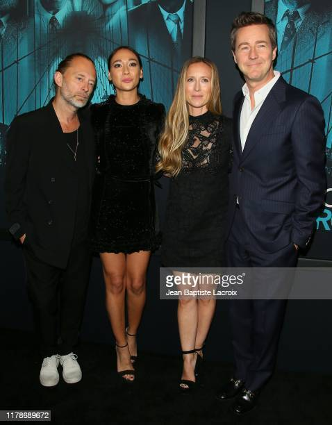 "Thom Yorke, Dajana Roncione, Shauna Robertson and Edward Norton attend the Premiere of Warner Bros. Pictures' ""Motherless Brooklyn"" at Hollywood Post..."