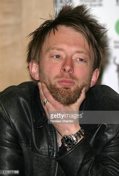 Thom Yorke during The Big Ask Photocall May 25 2005 at Portcullis House in London Great Britain