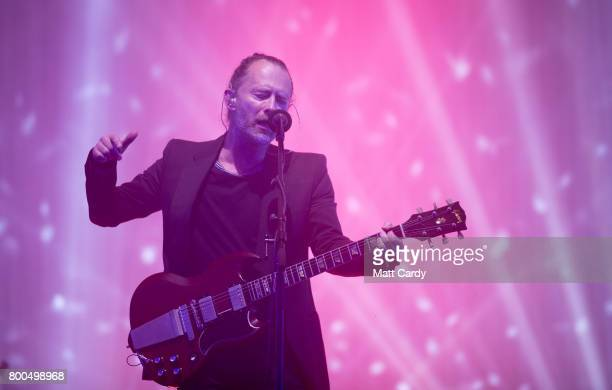 Thom Yorke from Radiohead performs on the Pyramid Stage at the Glastonbury Festival site at Worthy Farm in Pilton on June 23 2017 near Glastonbury...