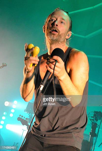 Thom Yorke of Atoms For Peace performs live on stage at The Roundhouse on July 24 2013 in London England