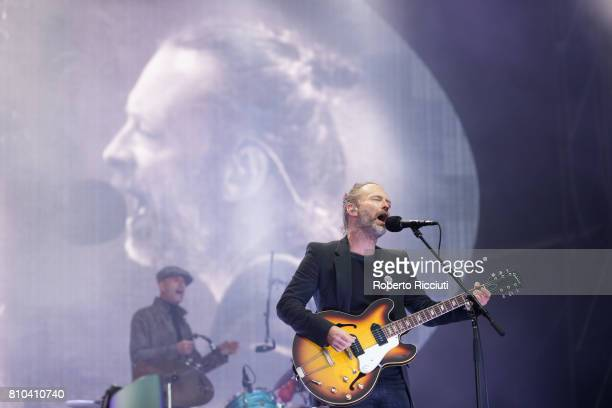 Thom Yorke of English rock band Radiohead performs on stage during TRNSMT Festival Day 1 at Glasgow Green on July 7 2017 in Glasgow Scotland