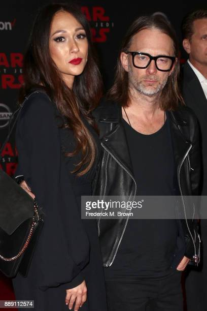 "Thom Yorke of Radiohead and Dajana Roncione attend the premiere of Disney Pictures and Lucasfilm's ""Star Wars: The Last Jedi"" at The Shrine..."
