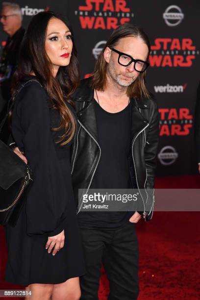 Thom Yorke of Radiohead and Dajana Roncione attend the premiere of Disney Pictures and Lucasfilm's 'Star Wars The Last Jedi' at The Shrine Auditorium...