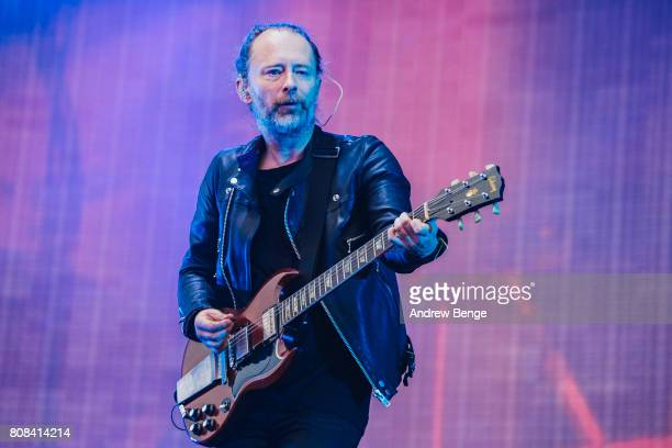 Thom Yorke of Radiohead performs at Emirates Old Trafford on July 4 2017 in Manchester England