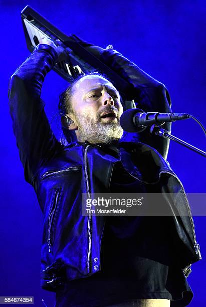 Thom Yorke of Radiohead performs during Lollapalooza at Grant Park on July 29 2016 in Chicago Illinois