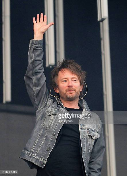 Thom Yorke of Radiohead performs during their first night at Victoria Park in support of the album 'In Rainbows' on June 24 2008 in London England