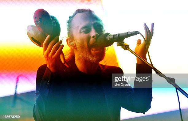 Thom Yorke of Radiohead performs live on stage at 02 Arena on October 8 2012 in London England