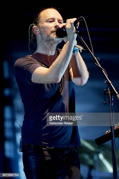 Thom Yorke of Radiohead performs live on stage during the second day of the Lollapalooza Berlin music festival at Treptower Park on September 11 2016...