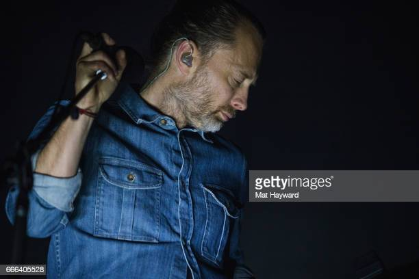 Thom Yorke of Radiohead performs on stage at KeyArena on April 8 2017 in Seattle Washington