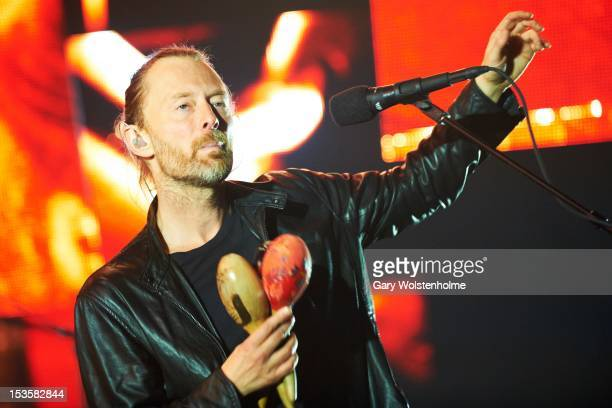 Thom Yorke of Radiohead performs on stage at MEN Arena on October 6 2012 in Manchester United Kingdom