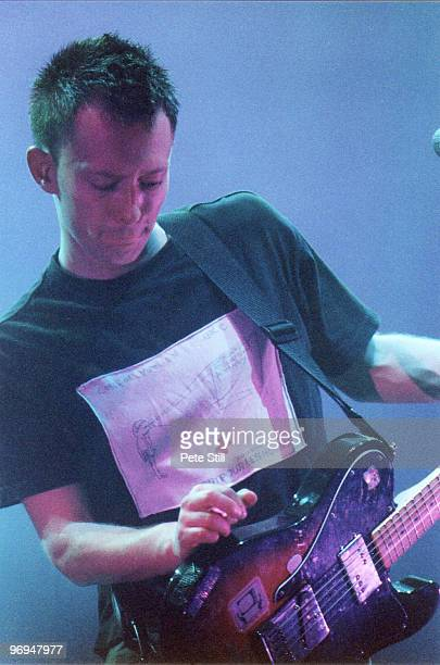 Thom Yorke of Radiohead performs on stage at The National Exhibition Centre on November 11th 1997 in Birmingham England