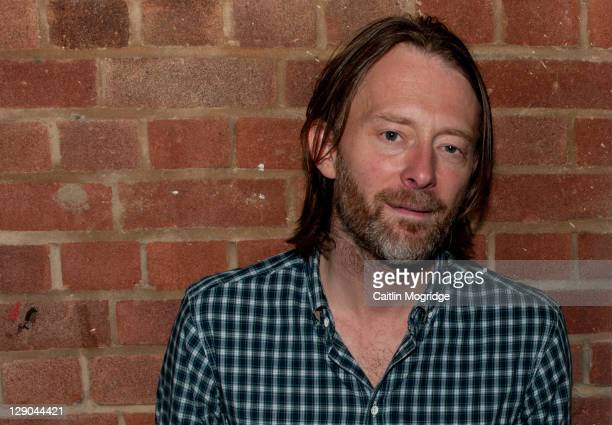 Thom Yorke of Radiohead poses for a photoshoot backstage at Boiler room on October 11 2011 in London United Kingdom
