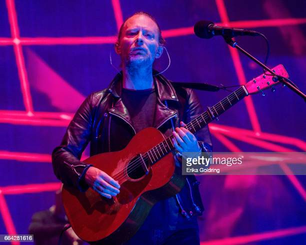 Thom Yorke of the band Radiohead performs at Smoothie King Center on April 3 2017 in New Orleans Louisiana