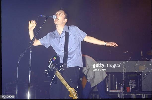 Thom Yorke performing w his band Radiohead