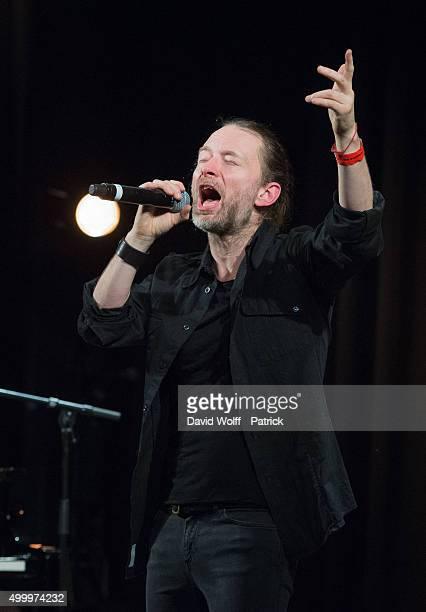 Thom Yorke performs during Pathway to Paris at Le Trianon on December 4 2015 in Paris France