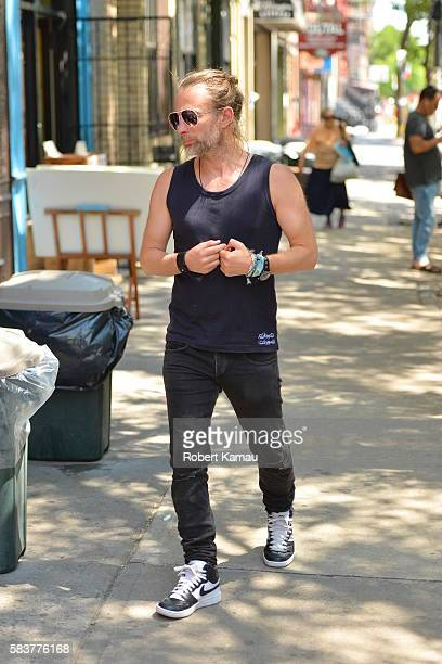 Thom Yorke Radiohead band member seen out in Manhattan on July 27 2016 in New York City