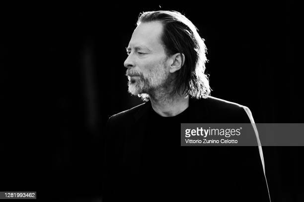 This image has been converted to black and white.) Thom Yorke walks the red carpet during the 15th Rome Film Festival on October 24, 2020 in Rome,...
